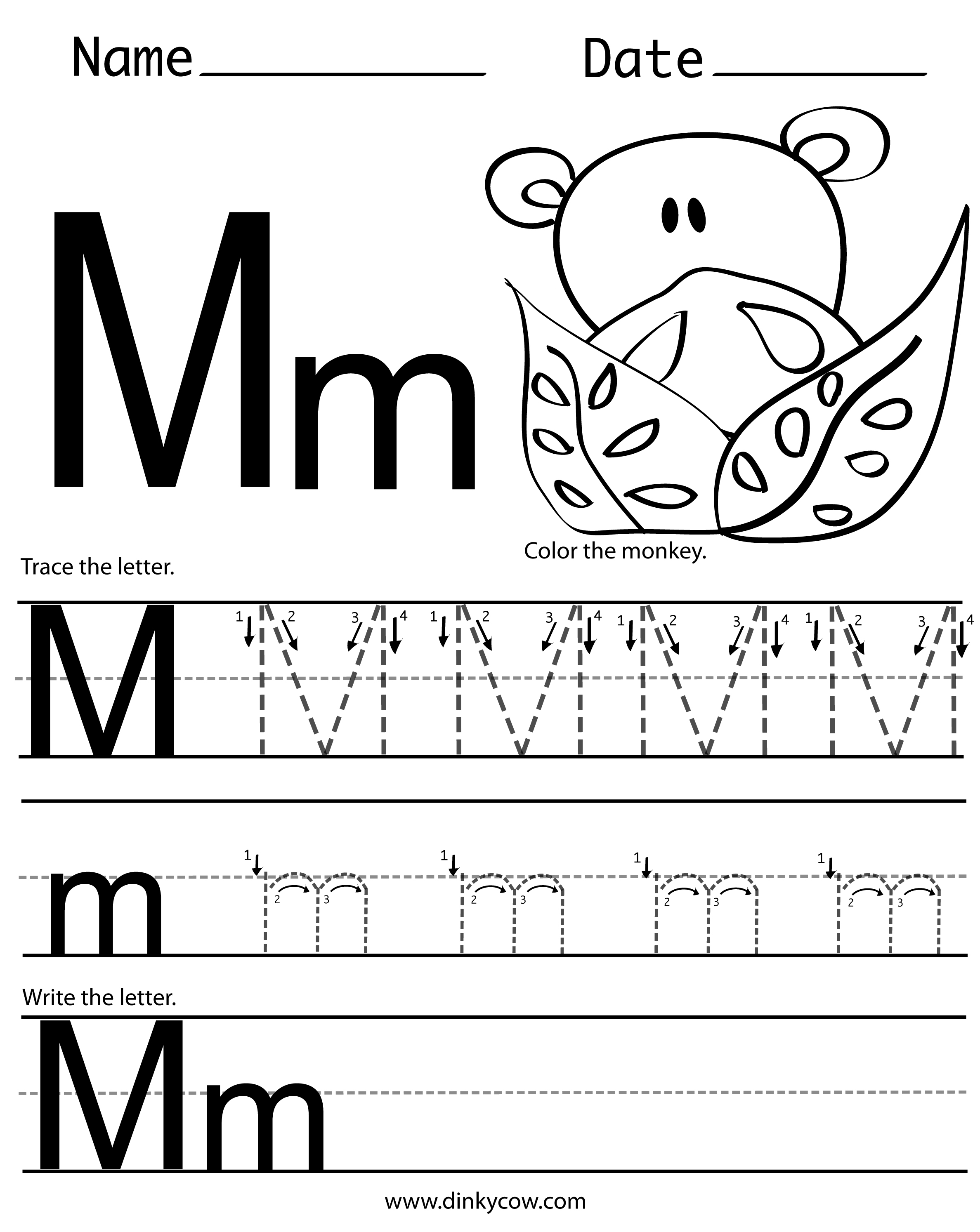 math worksheet : 7 best images of free printable letter m worksheets  preschool  : Letter M Worksheet Kindergarten