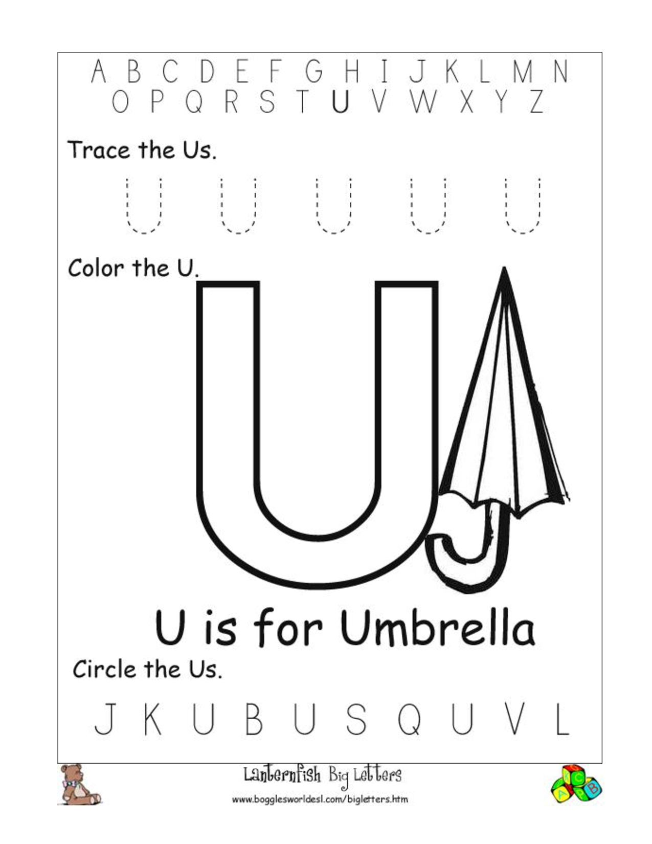 8 Best Images Of Letter U Kindergarten Printables