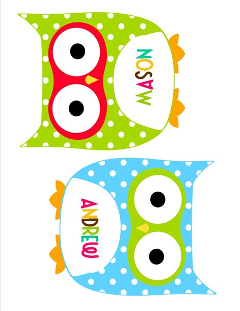 4 Images of Printable Owl Tags Tables