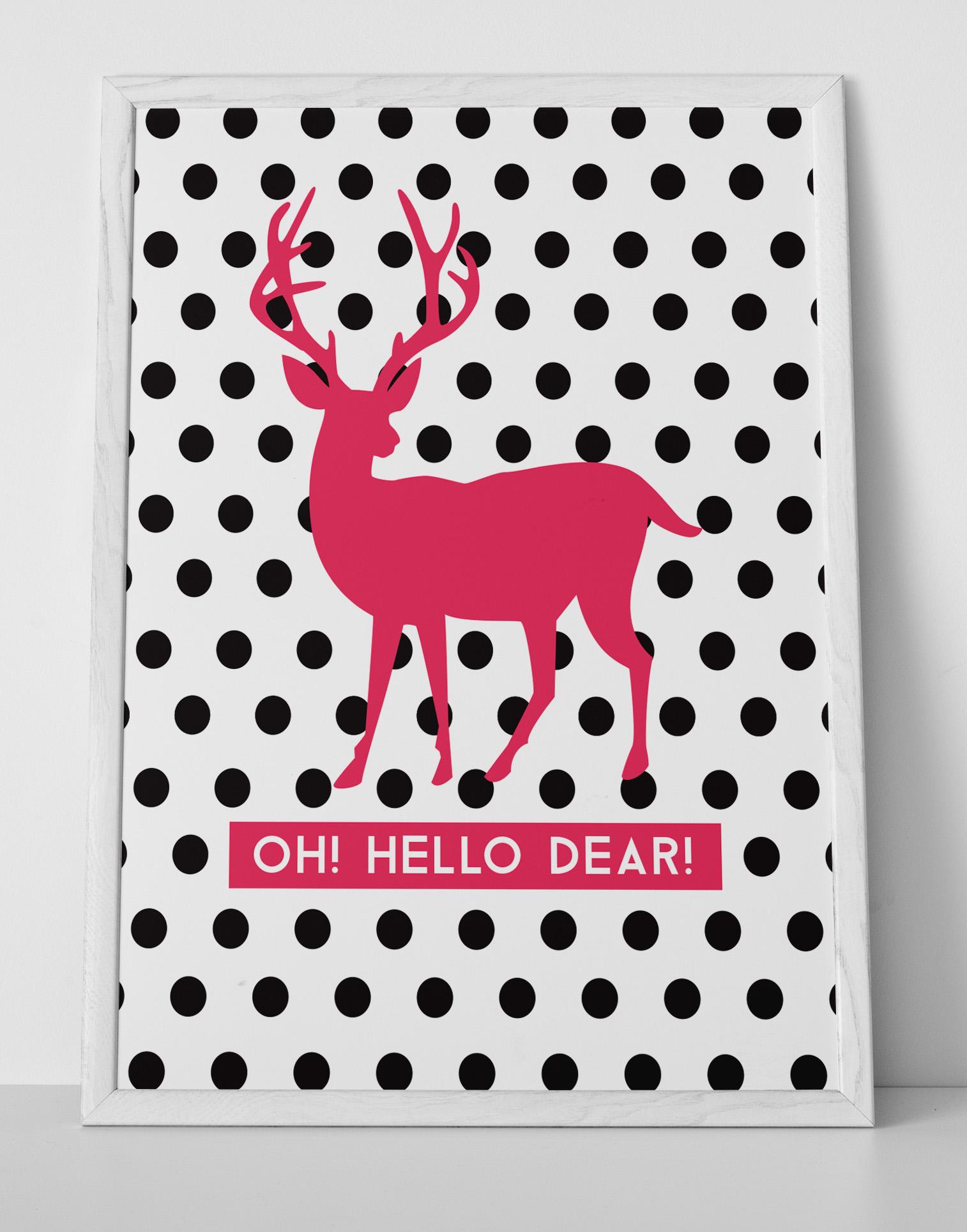 Pink and Black Polka Dot Wall