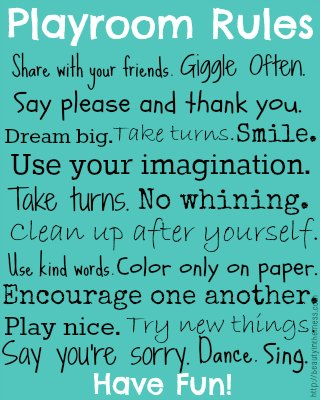 5 Images of Playroom Rules Free Printable