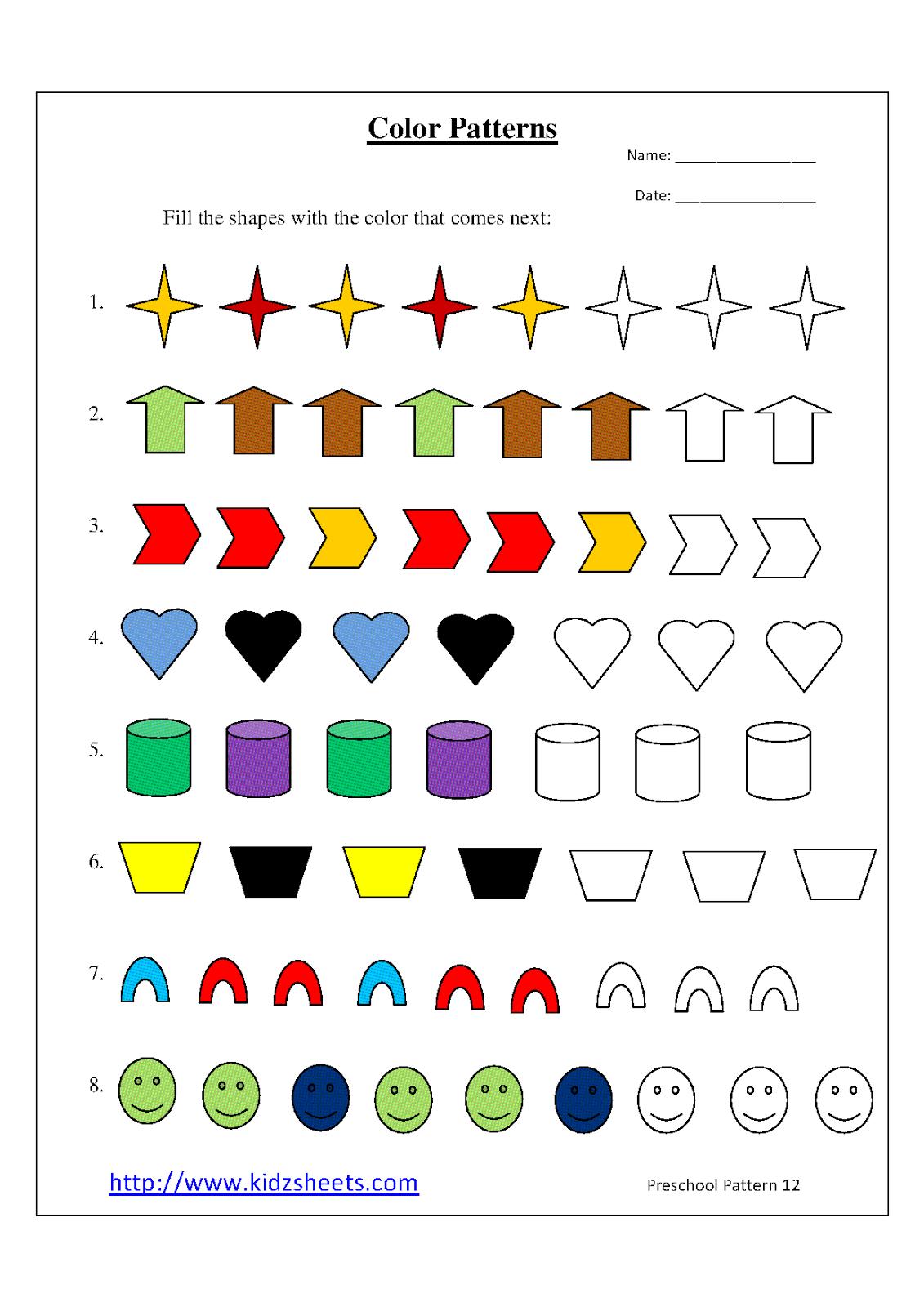 8 Best Images of Printable Pattern Worksheets - Preschool Pattern ...