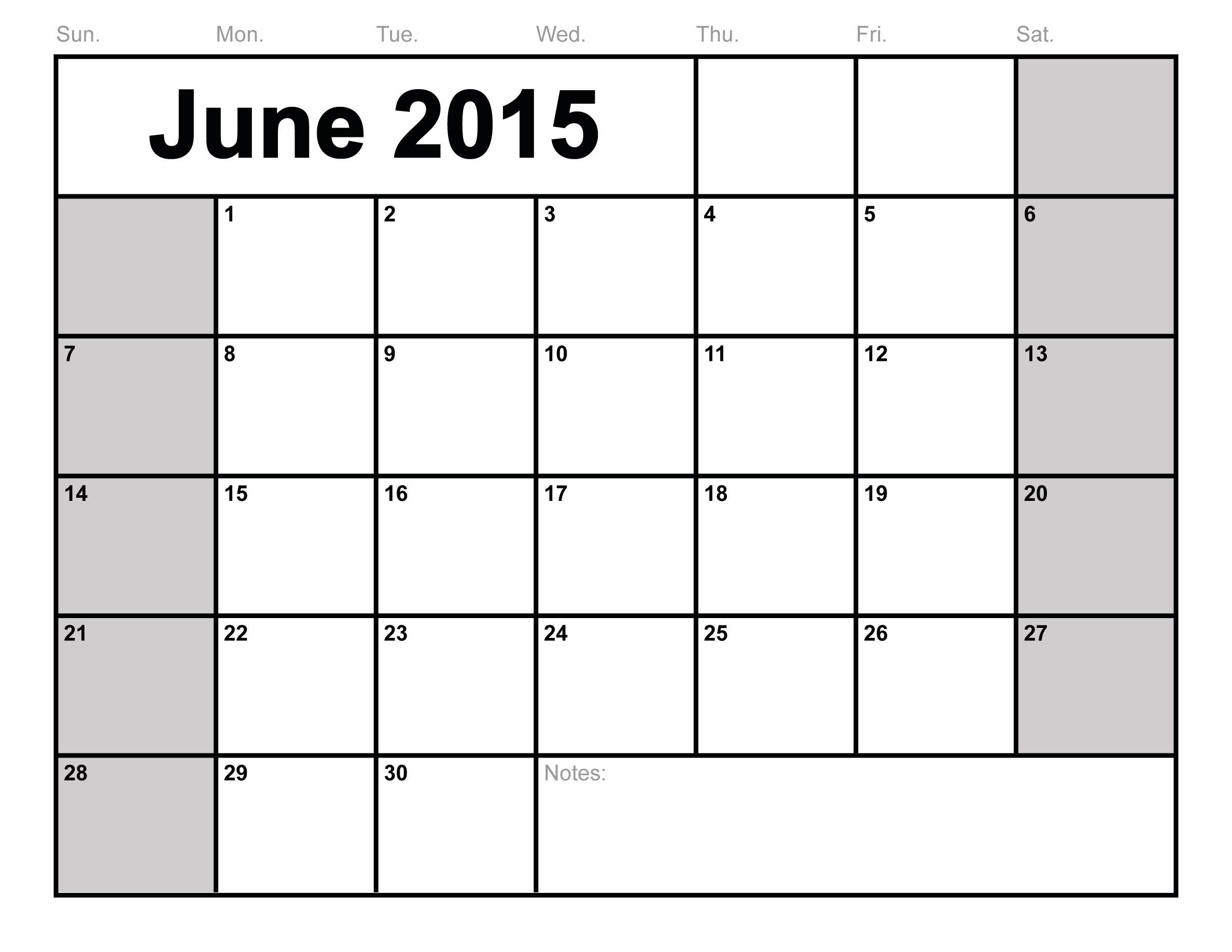 8 Images of Free Printable Blank Calendar 2015