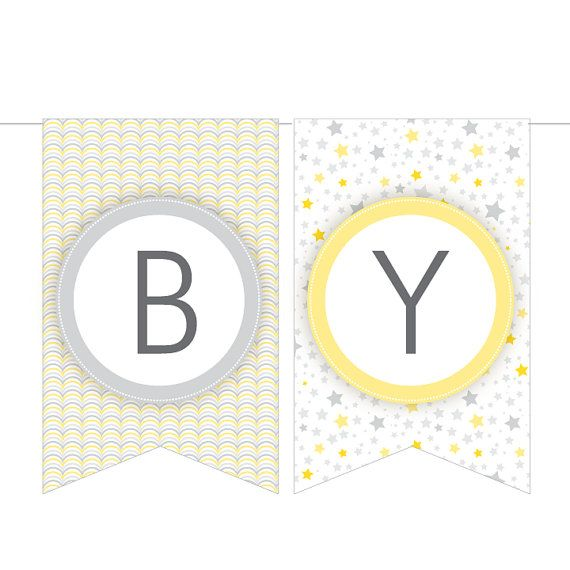 7 Images of Yellow Baby Shower Banner Printable