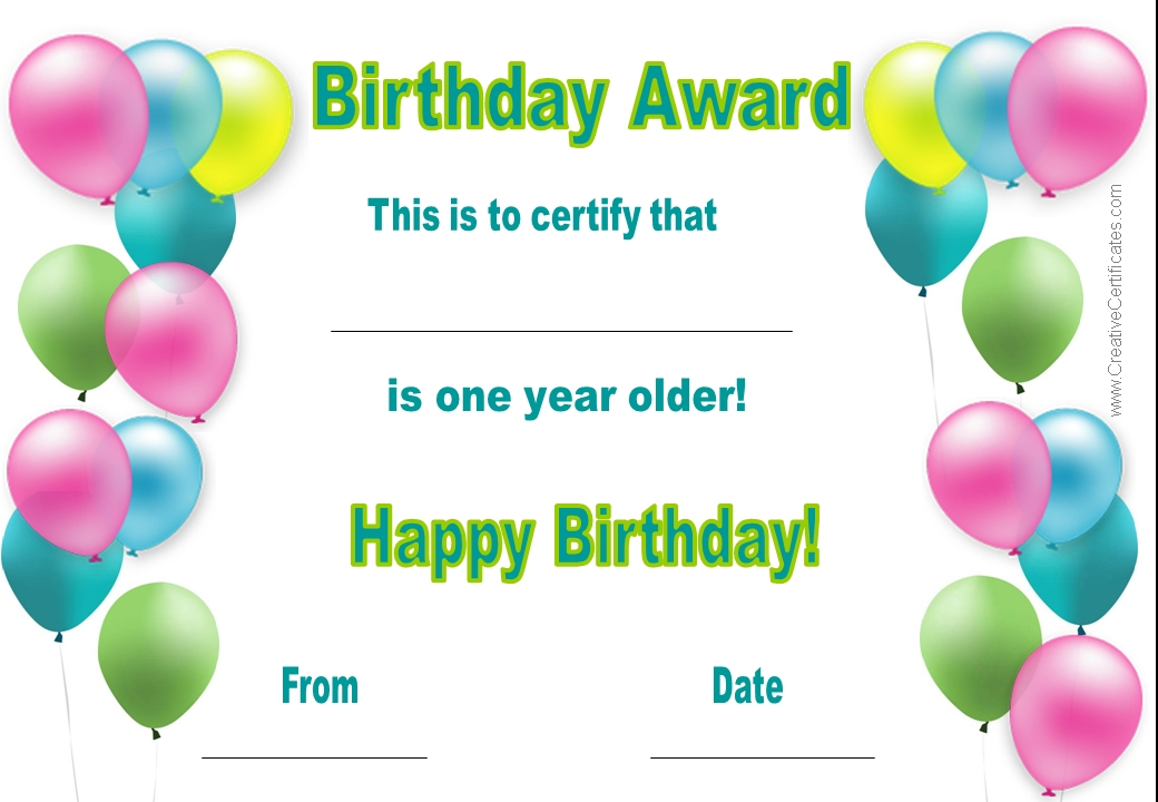 7 best images of printable birthday certificates happy for Walking certificate templates