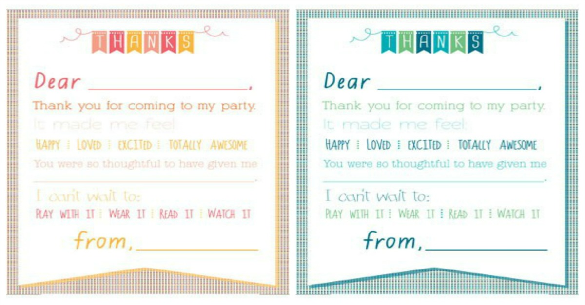 Printable Birthday Thank You Notes