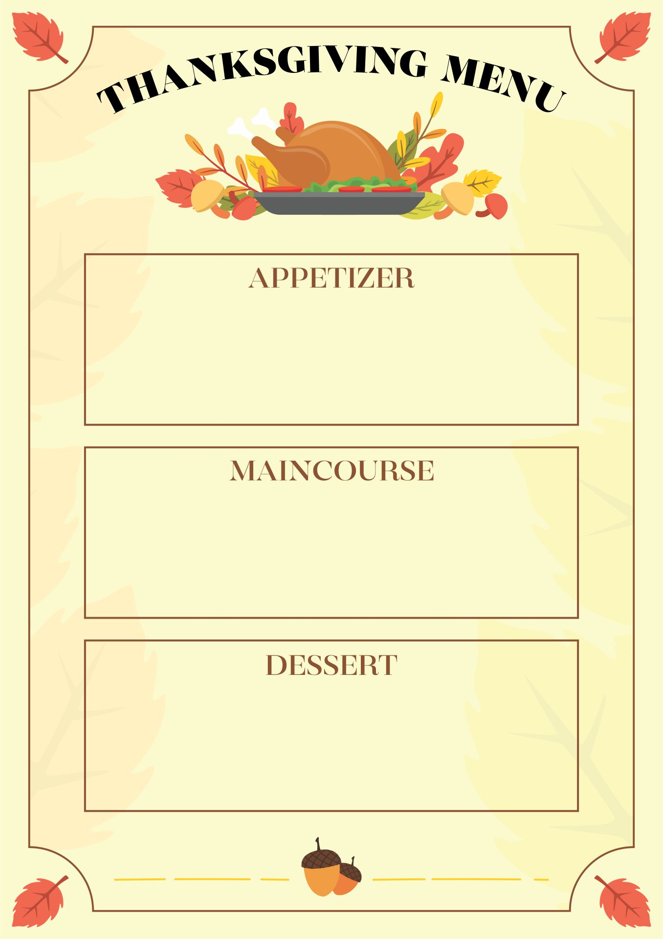 8 Images of Printable Thanksgiving Menu Blank Template