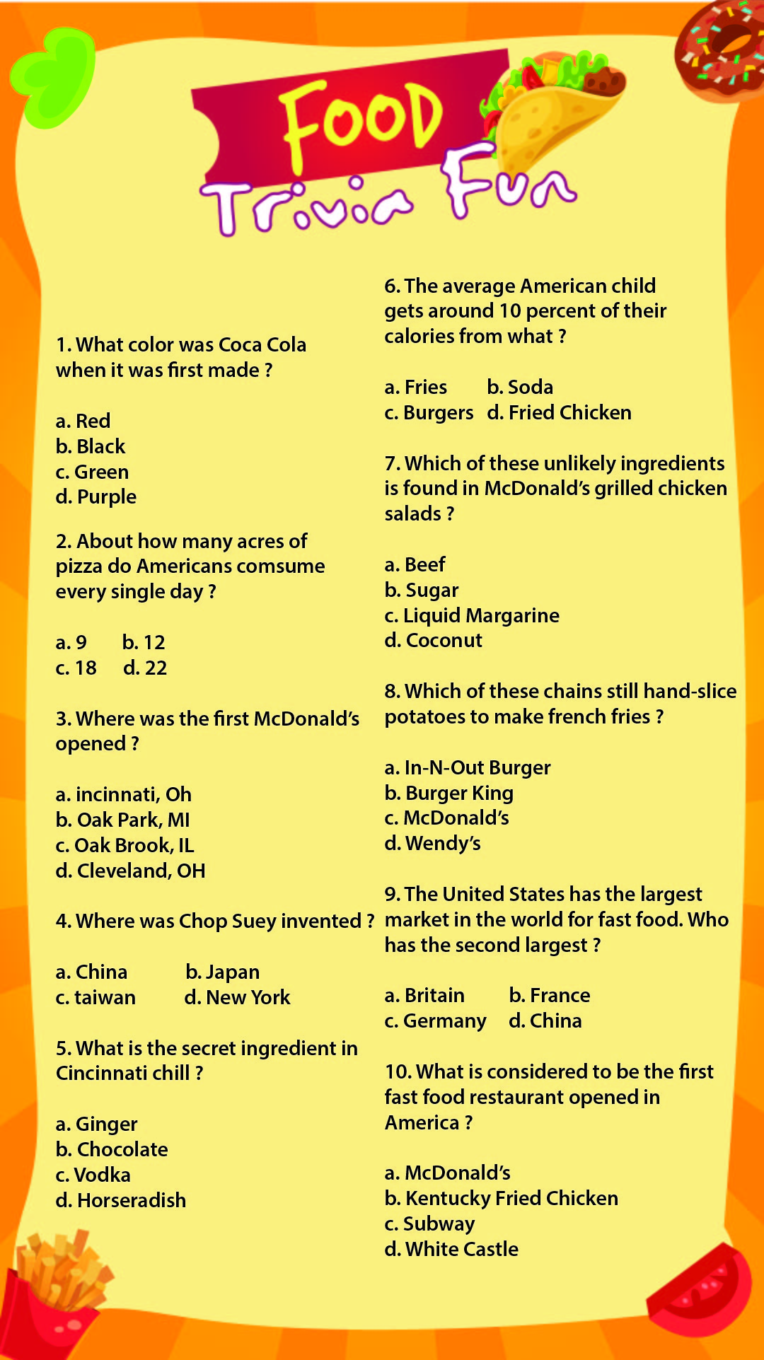 Printable Food Trivia Questions and Answers