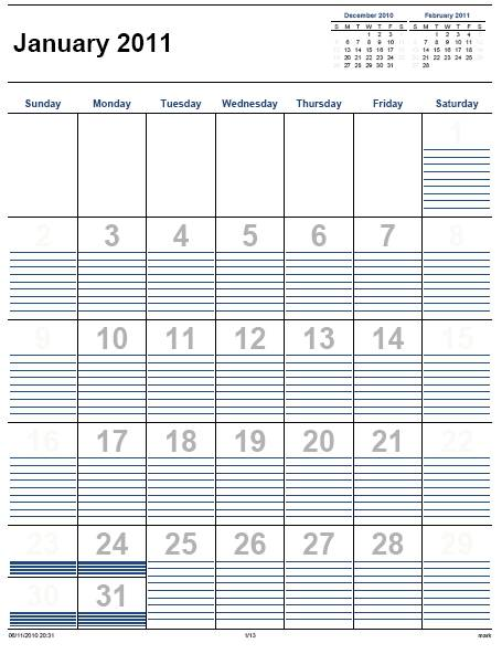 Calendar Page Template, Printable Monthly Appointment Calendar & Free ...