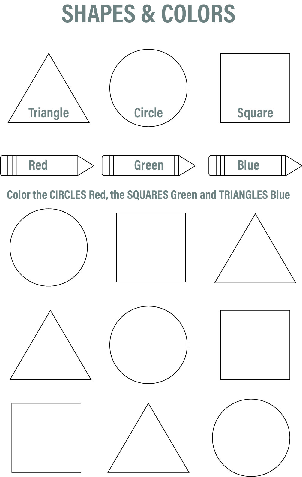 Printable Shapes Worksheets Kindergarten