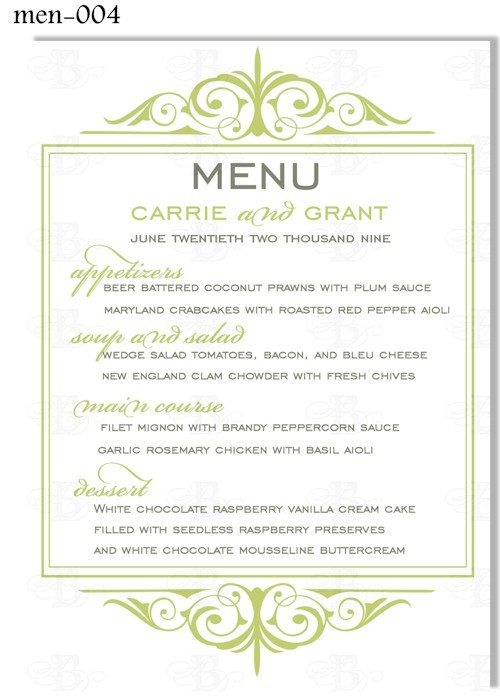 8 best images of printable menu cards for weddings for Wedding menu cards templates for free
