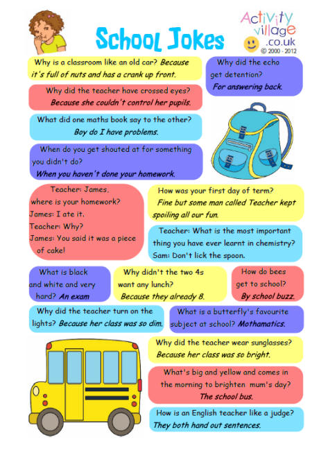 School Jokes for Kids Printable