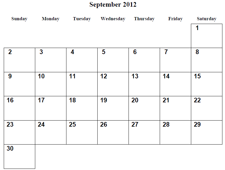 6 Images of Printable Monthly Calendars 2012 September