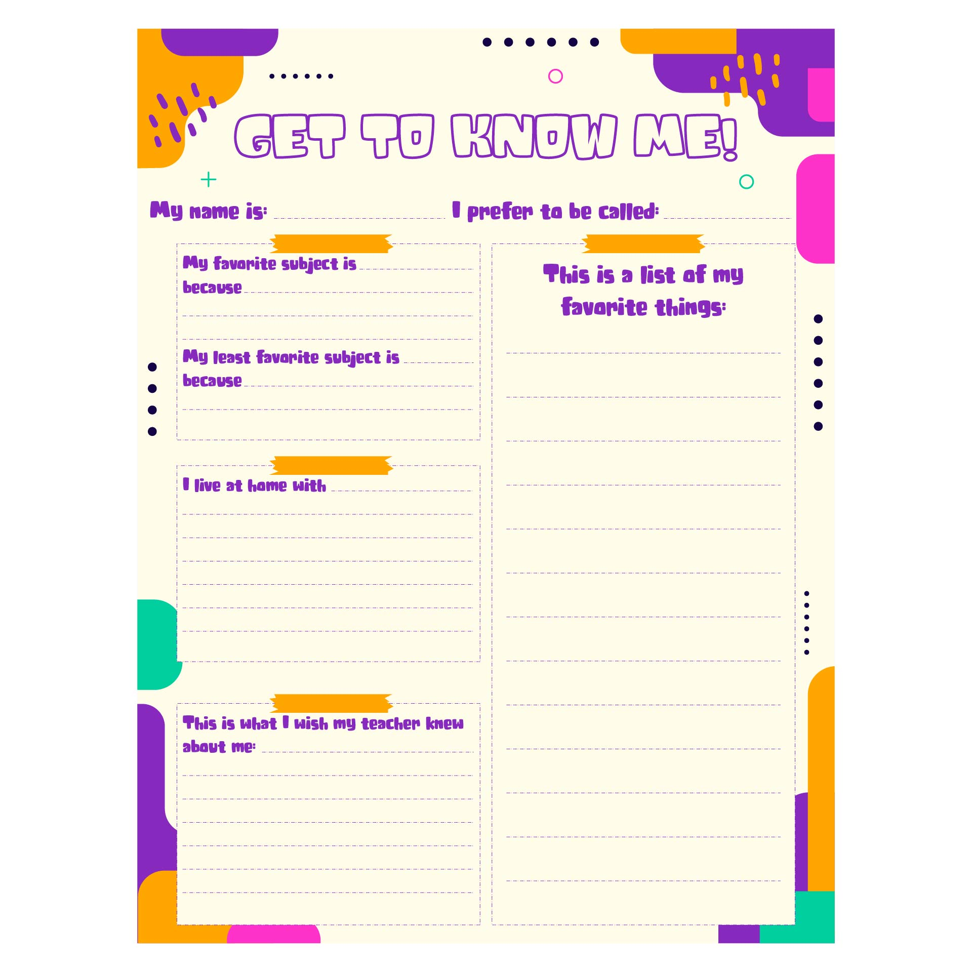 Student All About Me Printable