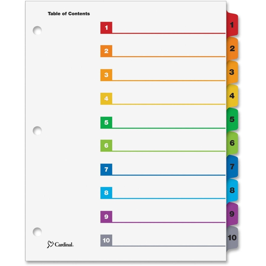 7 Images of Cardinal OneStep Printable Table Of Contents Dividers