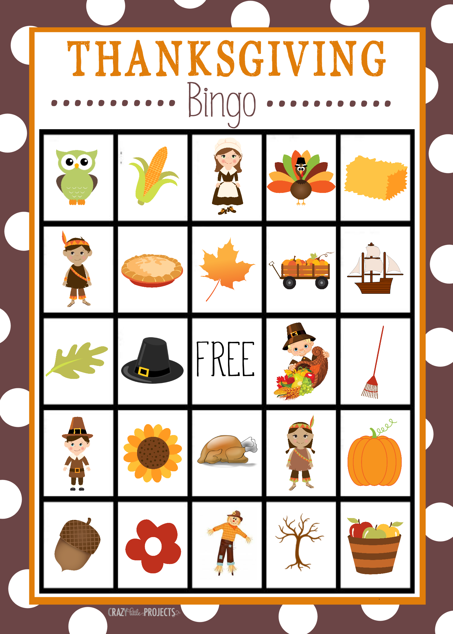 6 Images of Printable Thanksgiving Bingo Cards