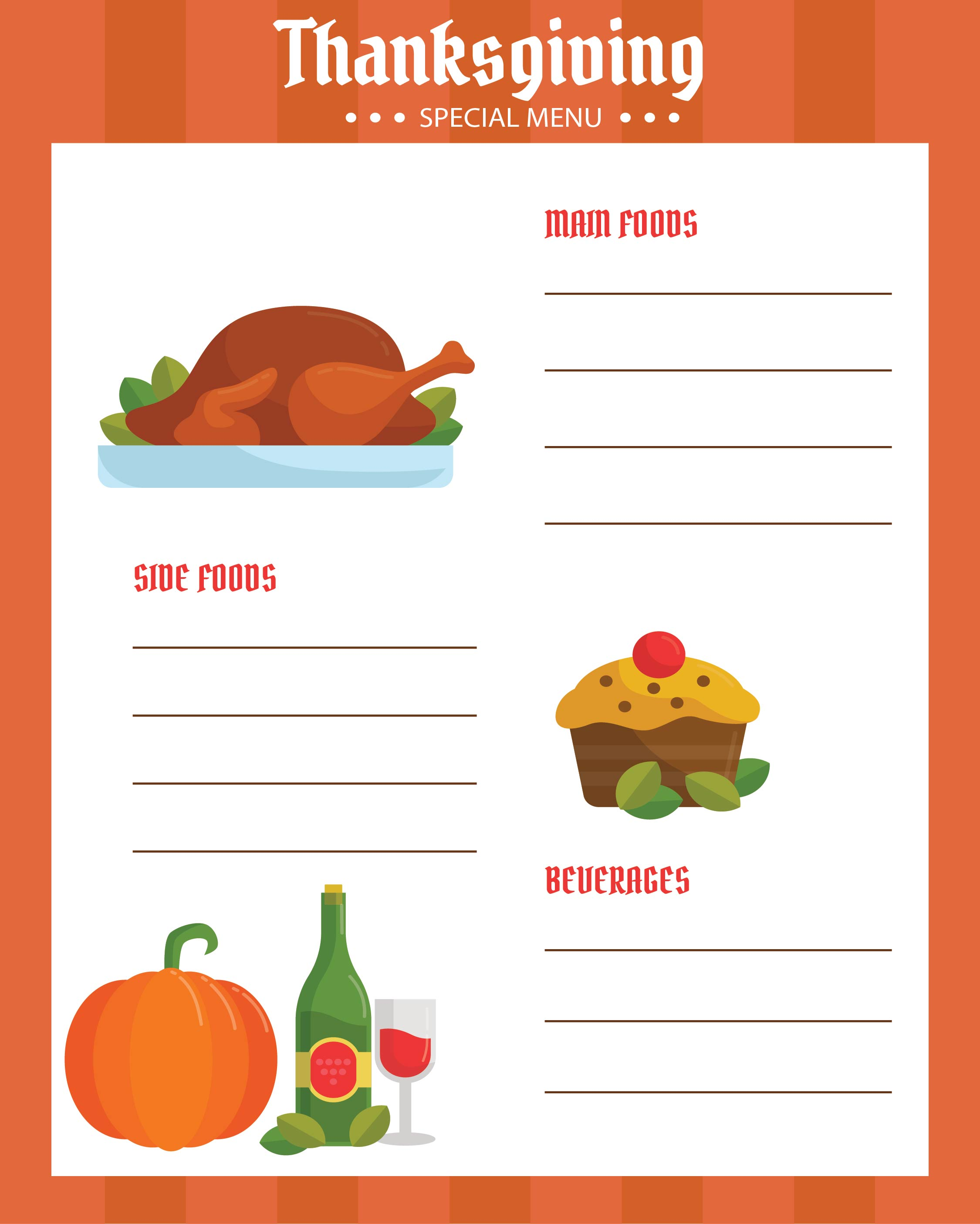 Thanksgiving Menu Template Word