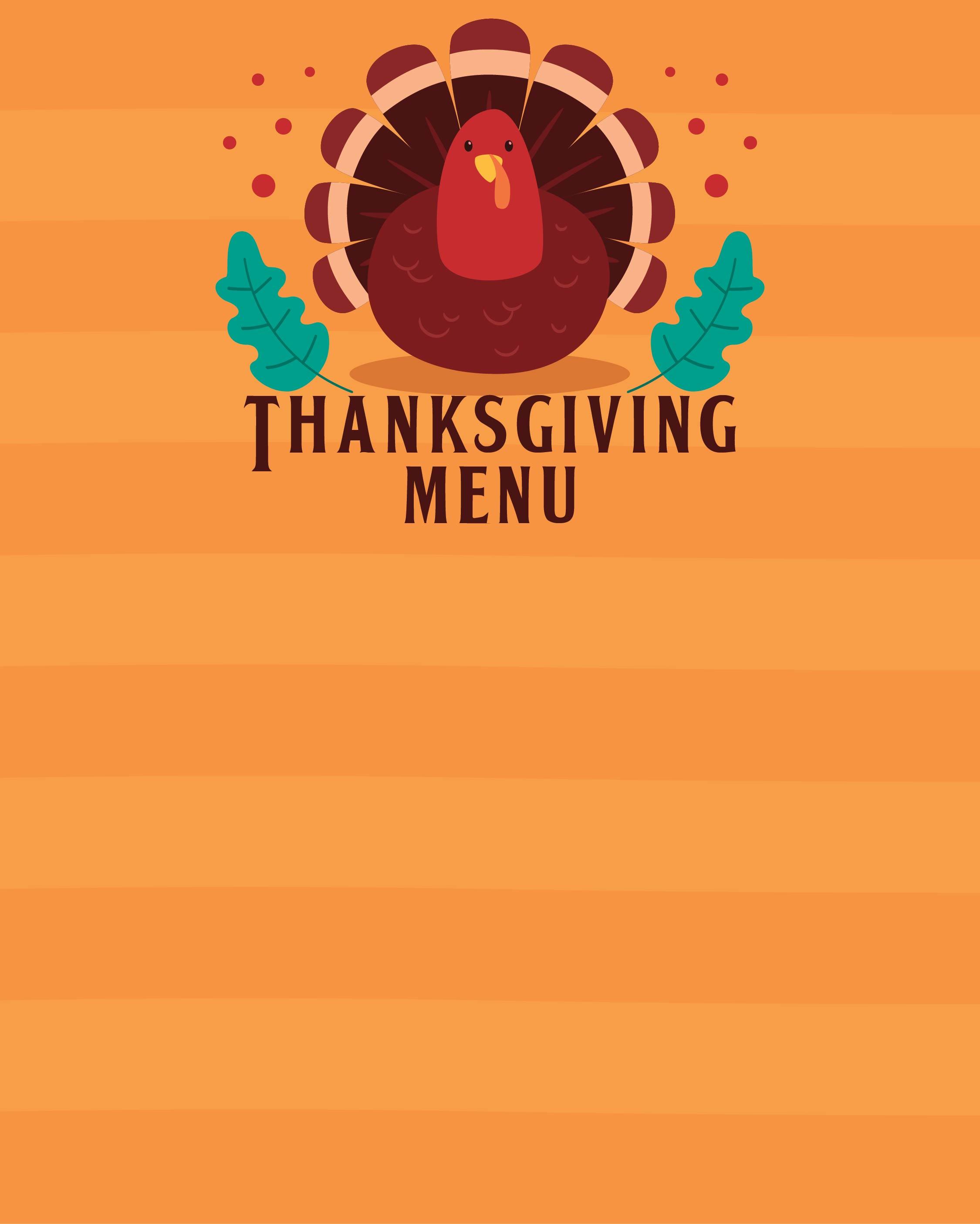 8 best images of printable thanksgiving menu blank for Free thanksgiving templates for word