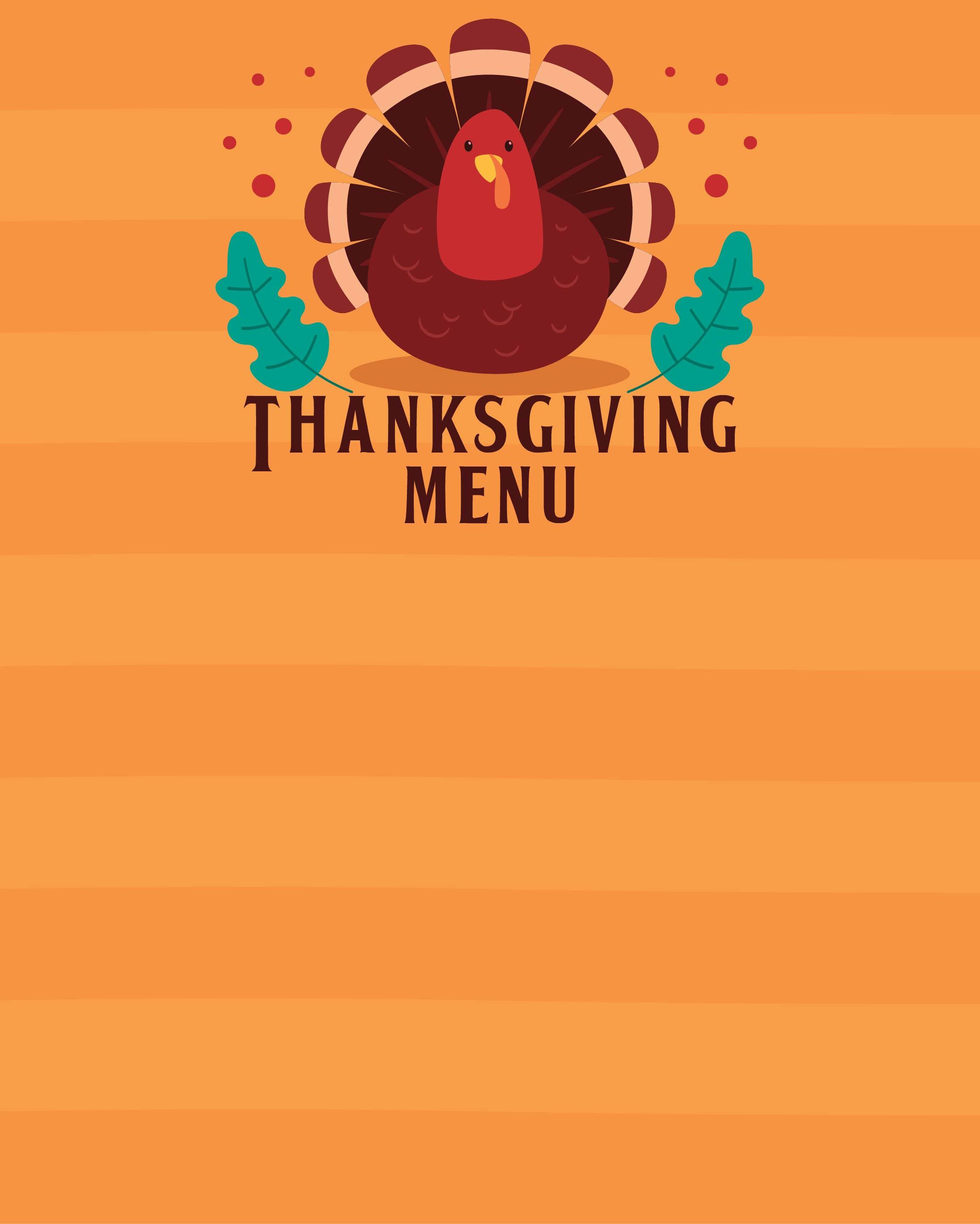 Thanksgiving Menu Templates Free