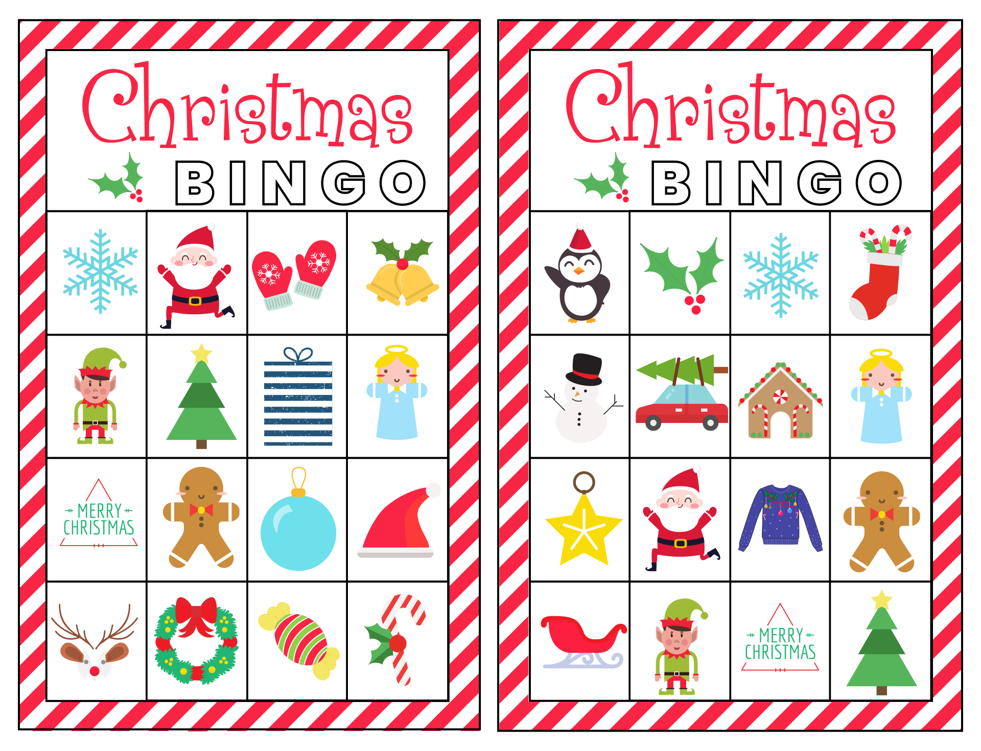 These Christmas Bingo Cards