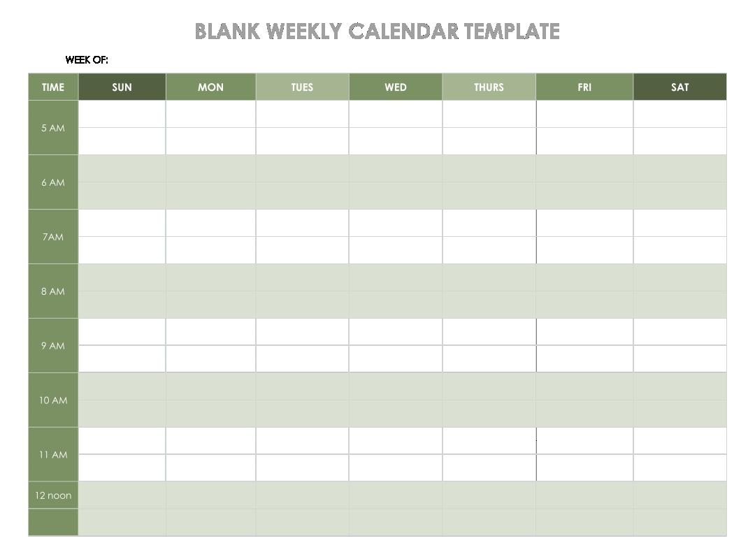 Weekly Planner Calendar Template
