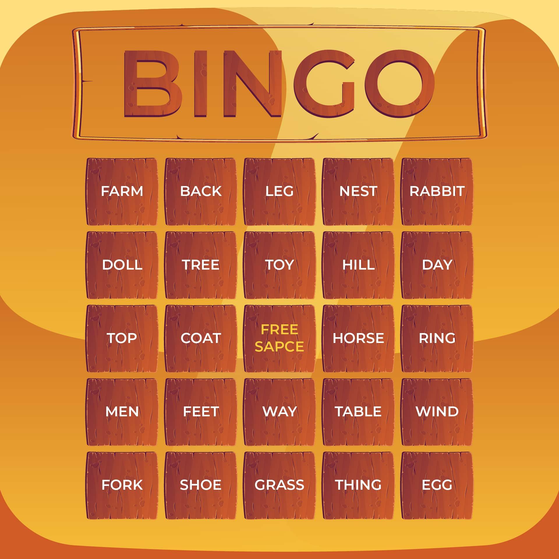 Word Bingo Cards