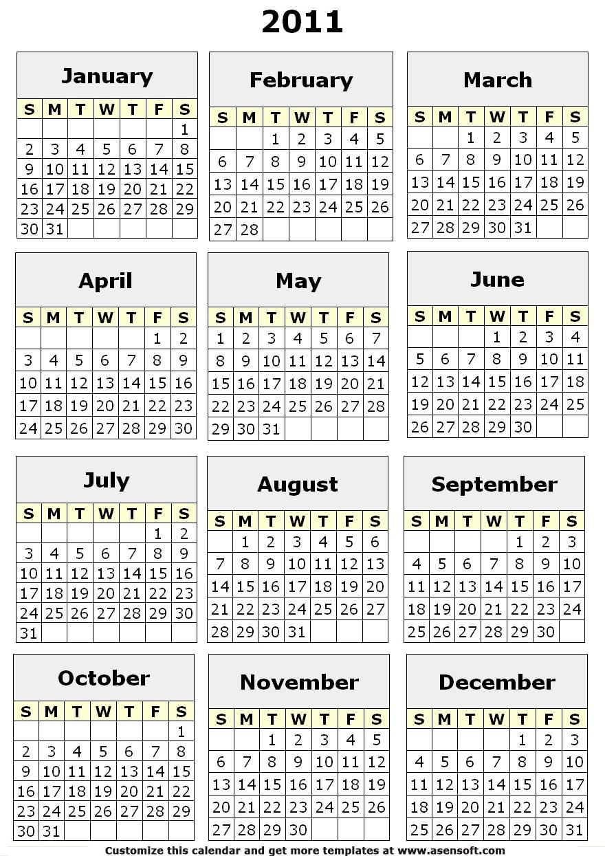 4 Images of Free Printable 12 Month Calendar 2011