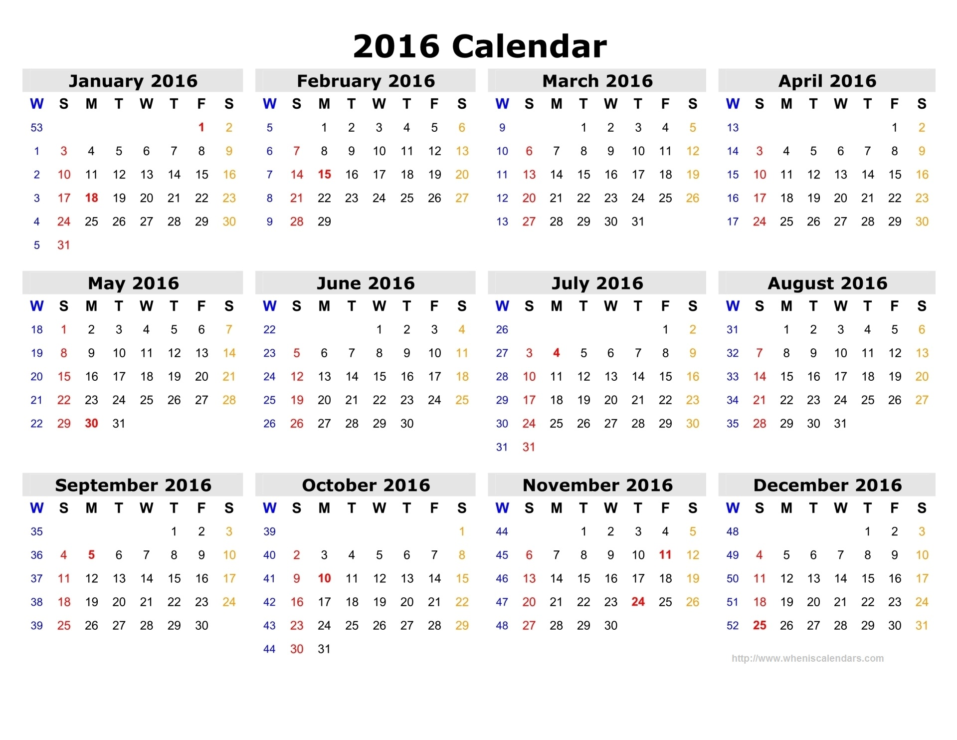 8 Images of Printable 2016 Calendar With Week Numbers