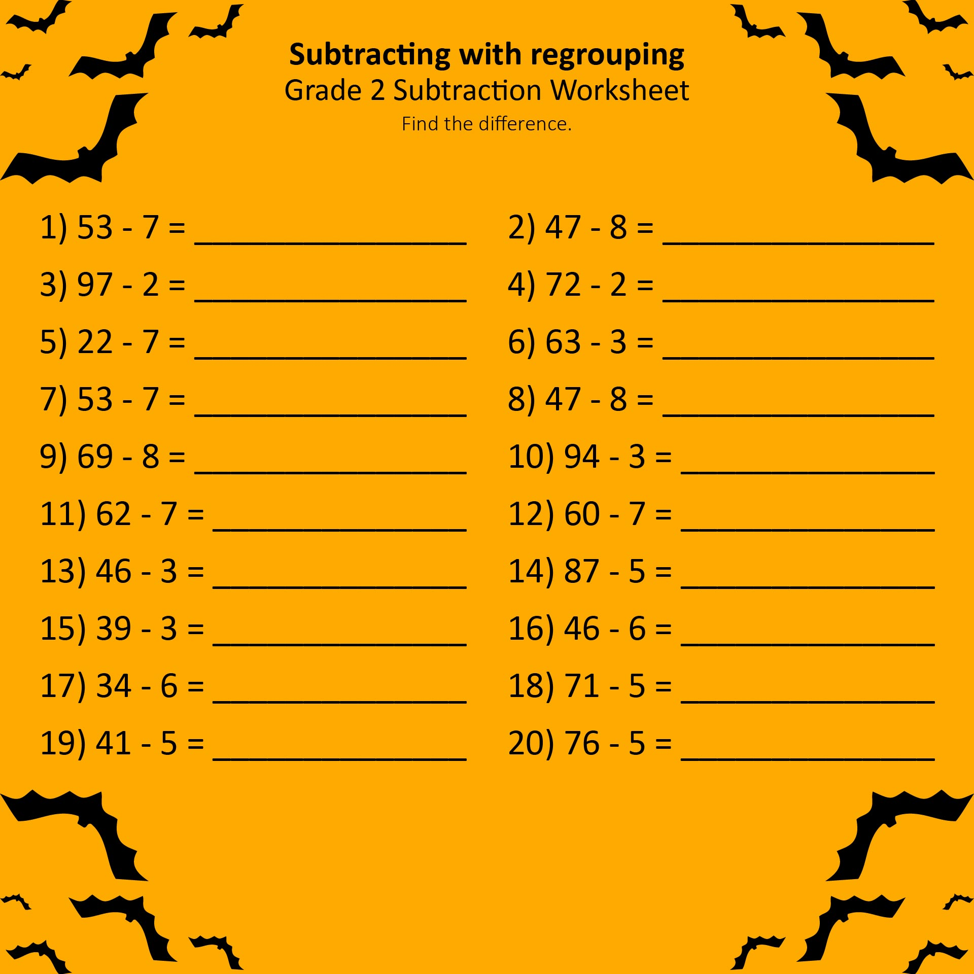 math worksheet : subtraction math worksheet for 3rd grade  worksheets : Subtraction Math Worksheet