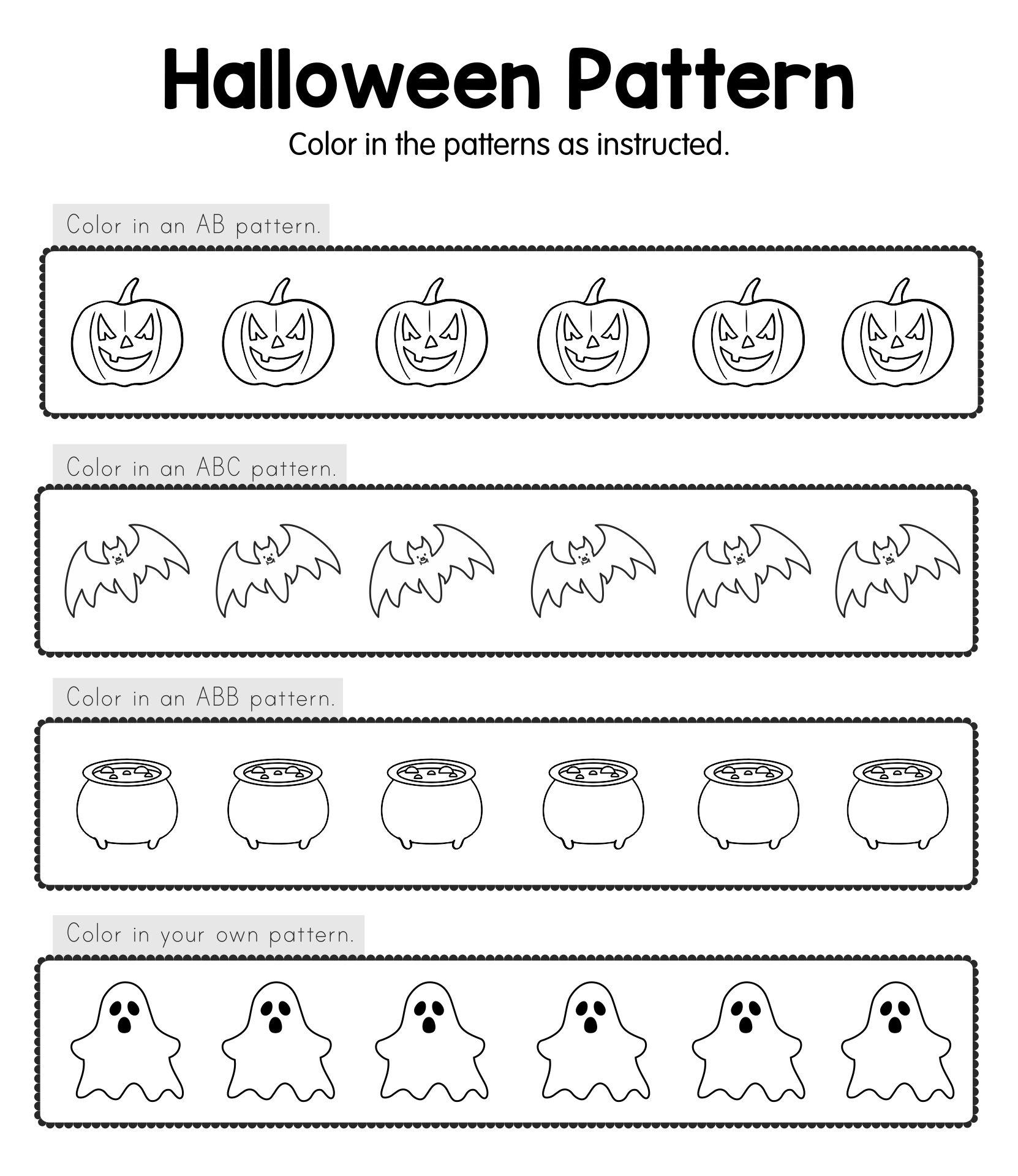 8 best images of halloween worksheets free printable pattern free printable pattern worksheets. Black Bedroom Furniture Sets. Home Design Ideas