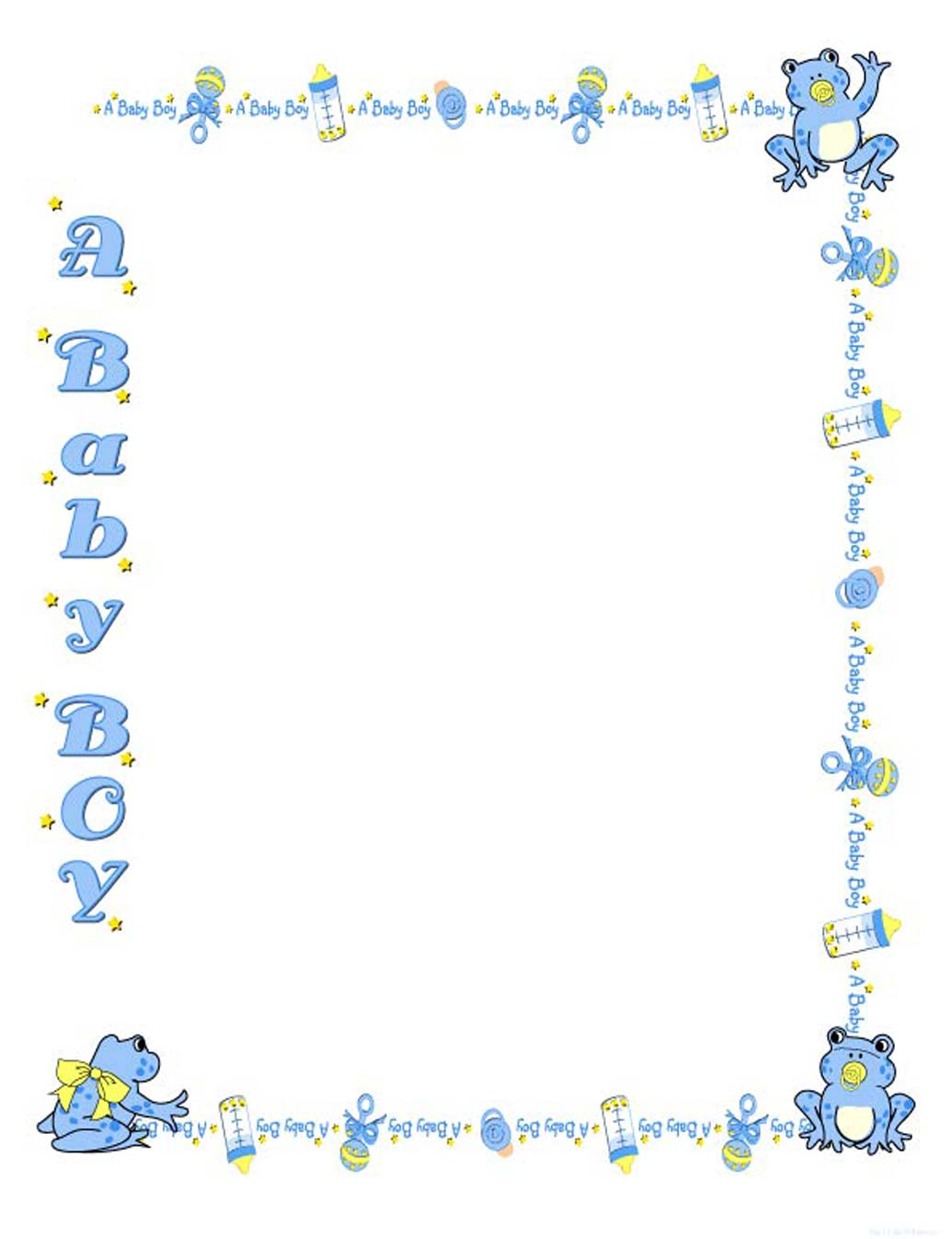 7 Images of Free Printable Baby Boy Borders