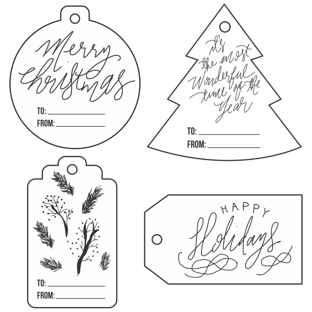 Black and White Printable Christmas Gift Tags