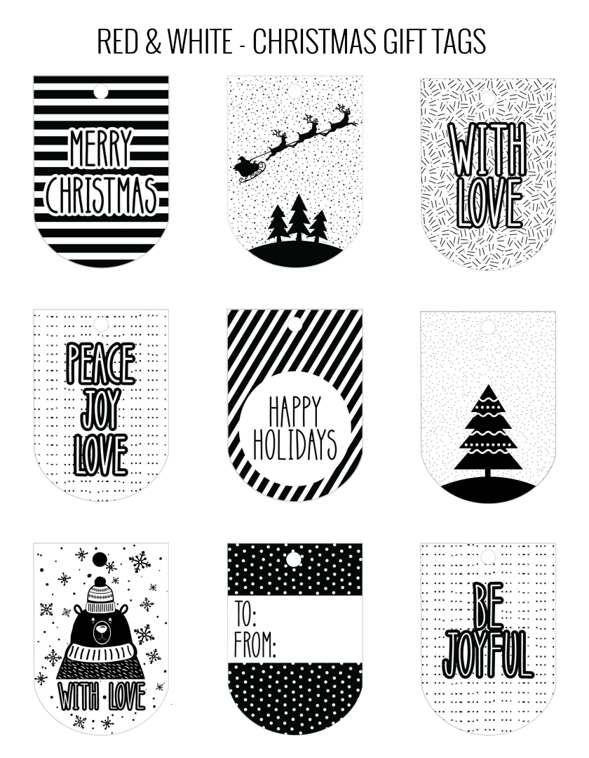 Black and White Printable Christmas Tags