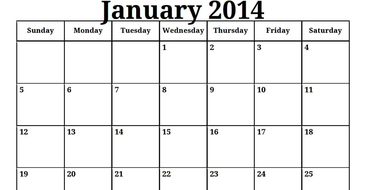 Blank January 2014 Calendar Printable