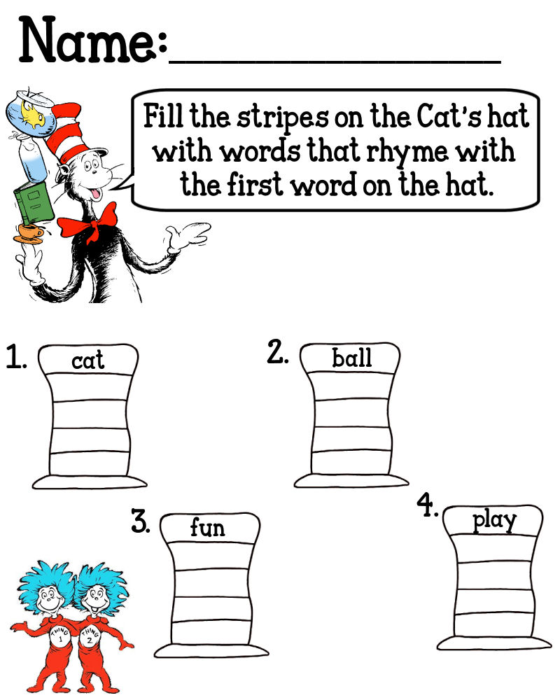 worksheet Dr Seuss Worksheets Free rhyming worksheet for kindergarten dr seuss cat in the hat worksheets printable kids