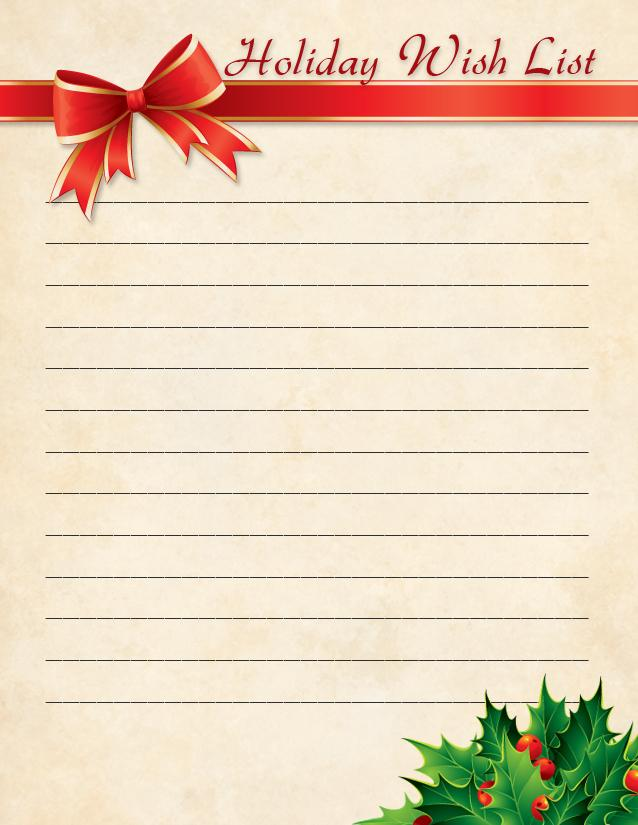 Christmas Wish List Template
