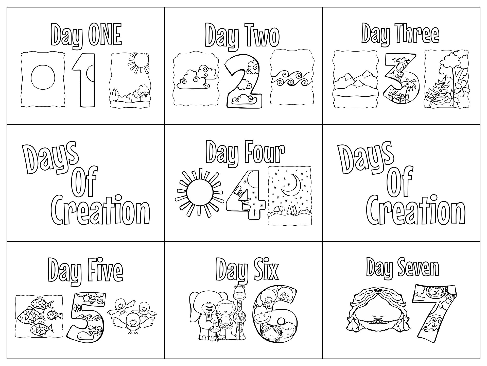 Days of Creation Coloring Pages for Kids