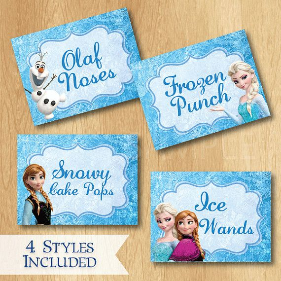 6 Images of Printable Food Labels Frozen Birthday Party