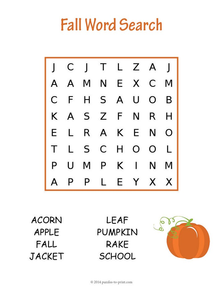 8 Images of Easy Fall Word Searches Printable