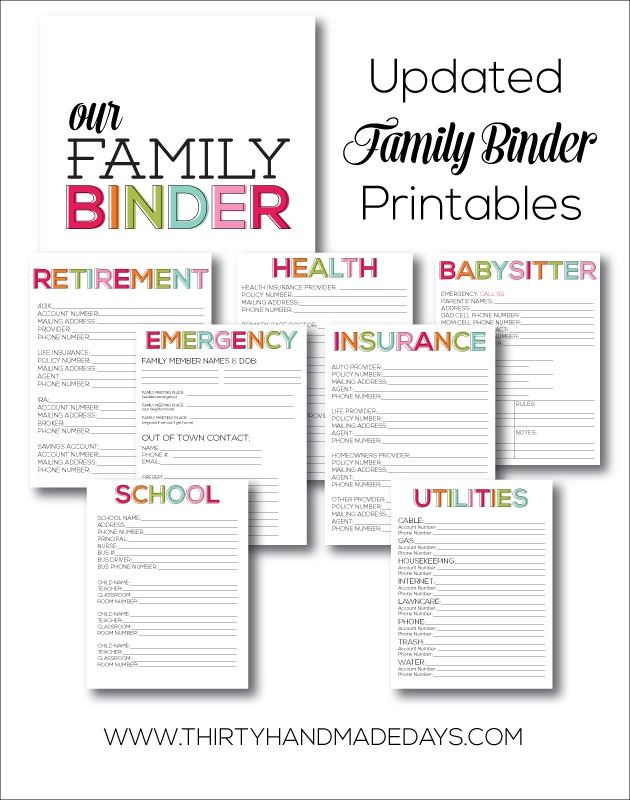 6 Images of Family Emergency Binder Printables