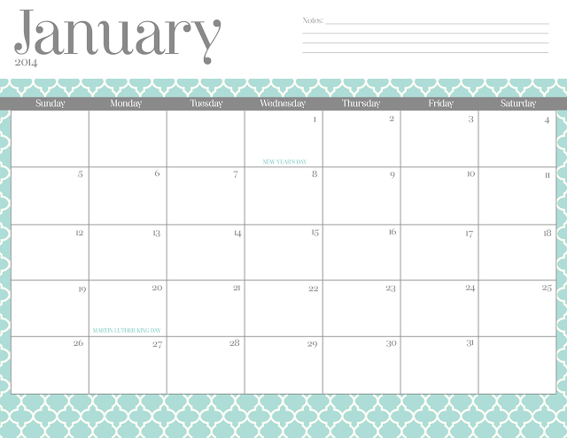 Free Cute Printable Monthly Calendar 2016