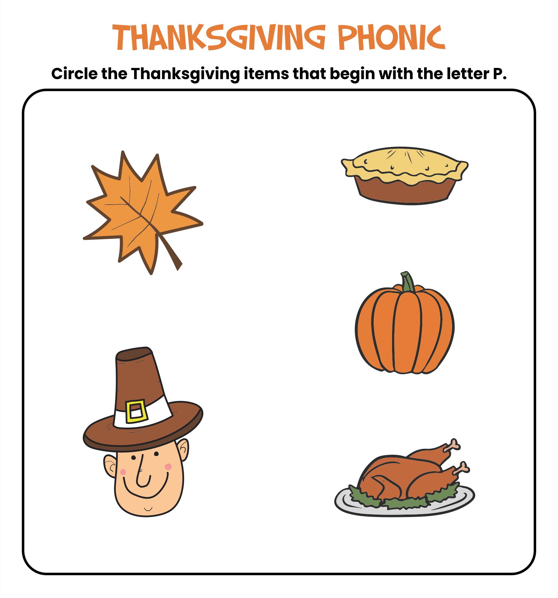 Kindergarten Thanksgiving Printables