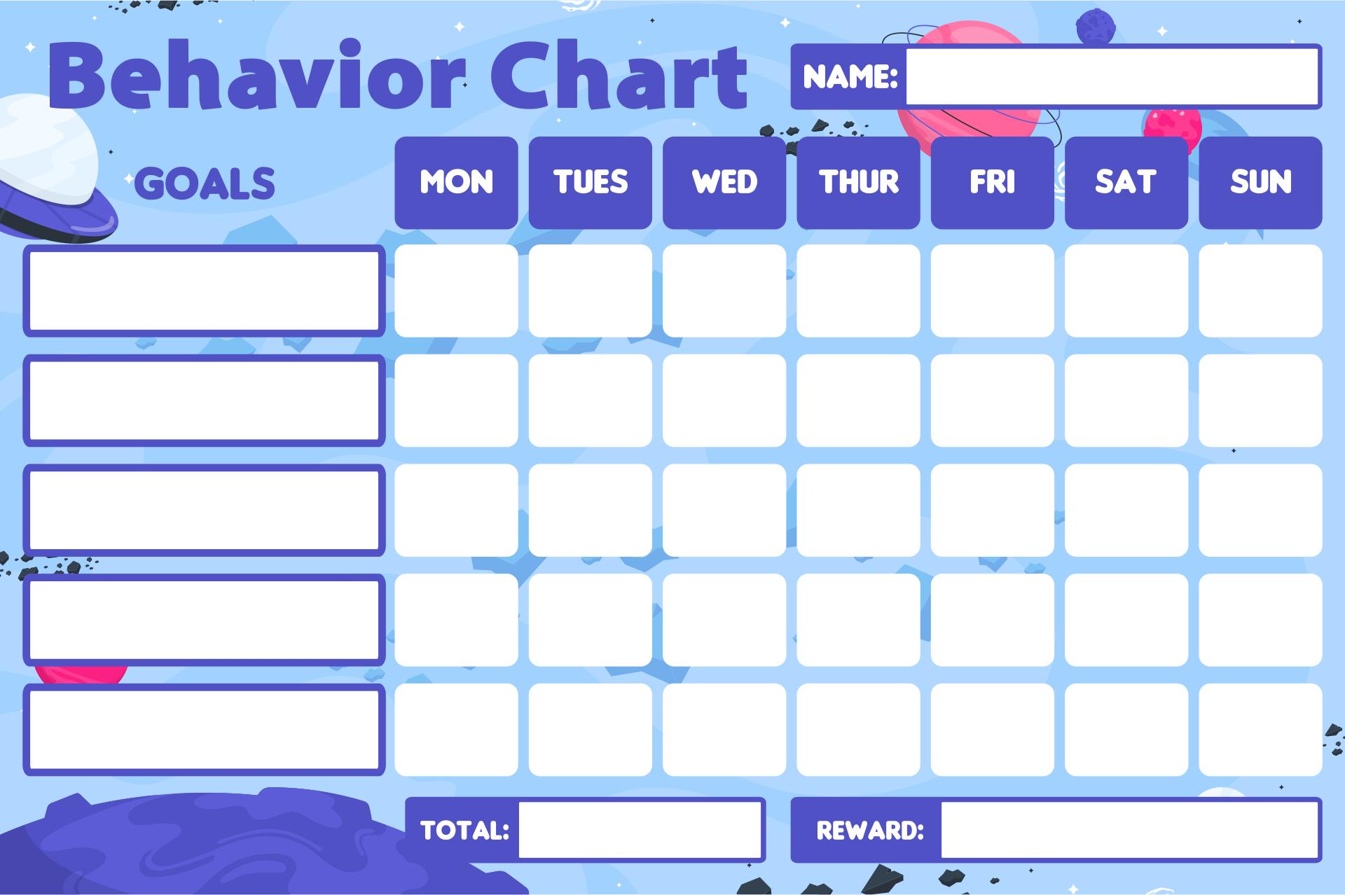 Printable Behavior Chart Templates