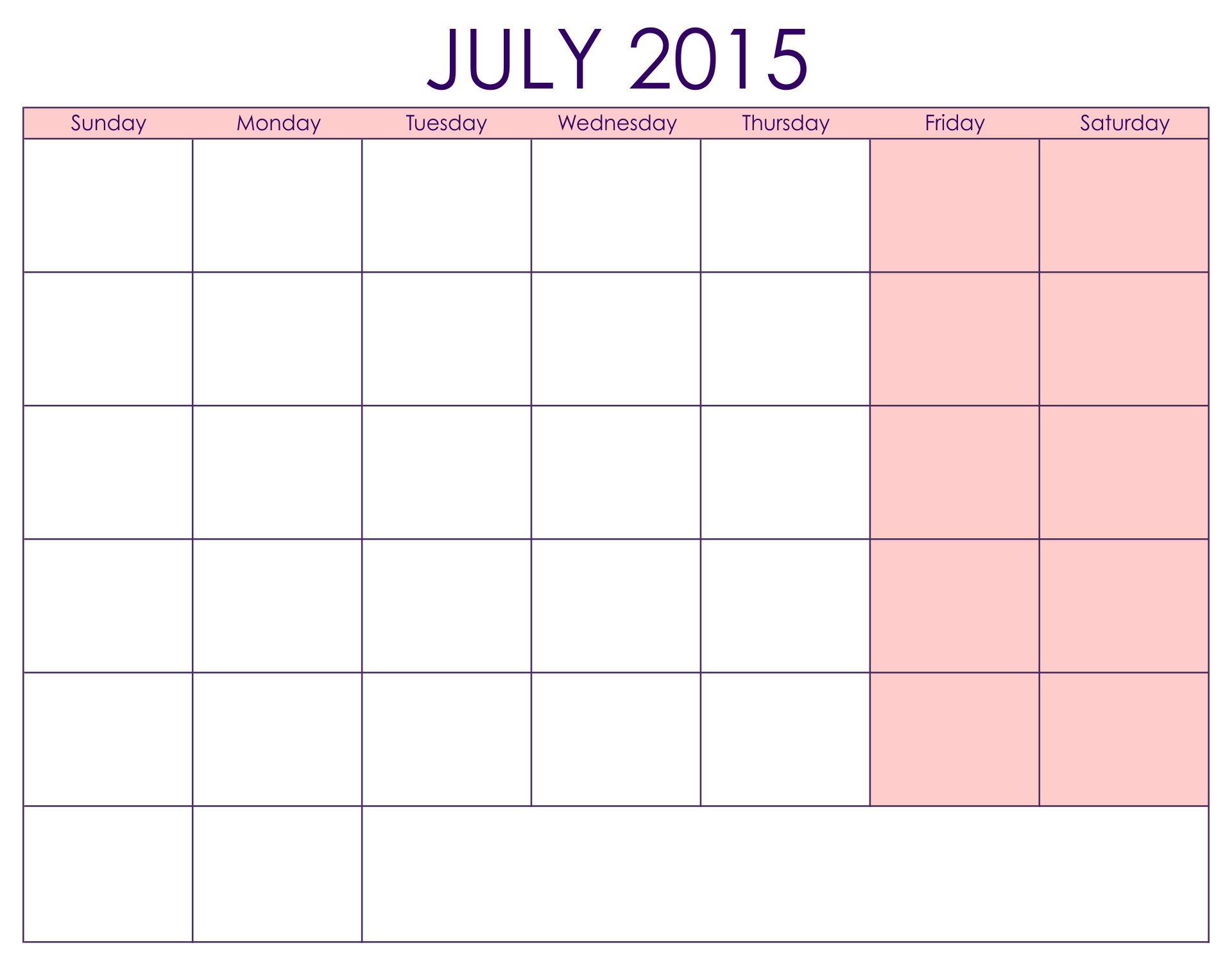 Free Printable Blank Calendar July 2015