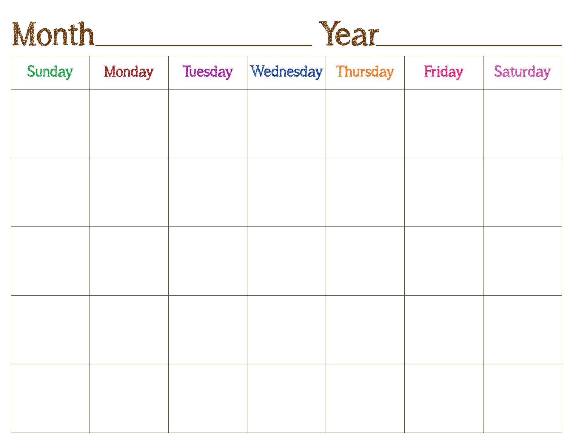 Free Printable Blank Preschool Calendars