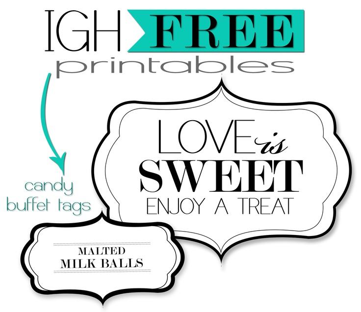 8 Images of Candy Buffet Tags Printable