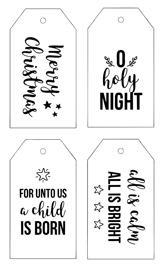 9 Images of Printable Christmas Tags Black And White