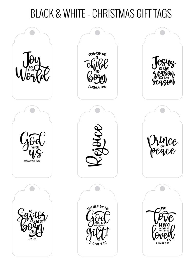 Printable Christmas Tags Black and White
