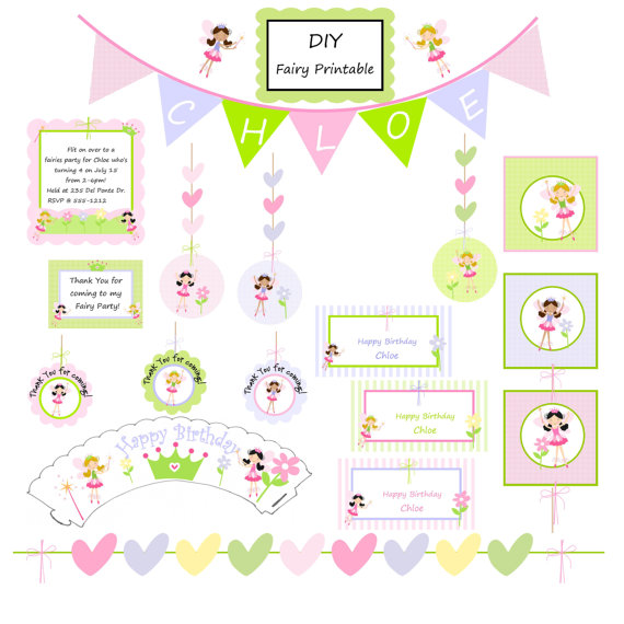 4 Images of Garden Fairy Party Invitation Printables