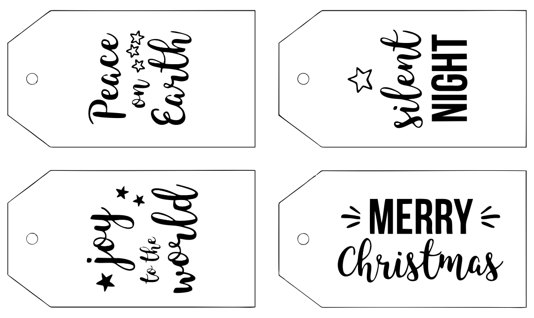Printable Gift Tags Black and White